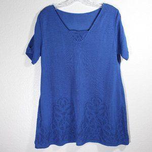 Lace Design Blouse V Neck Top